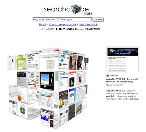 Moteur de recherche en 3D : Searchcube